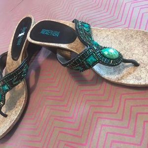 Kenneth Cole REACTION Wedge Sandals with Beading